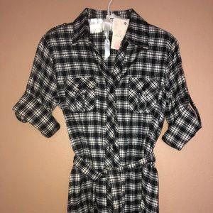 Adorable Flannel Shirt Dress